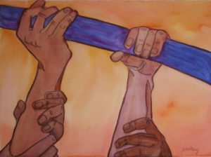together-in-battle-prophetic-art-painting